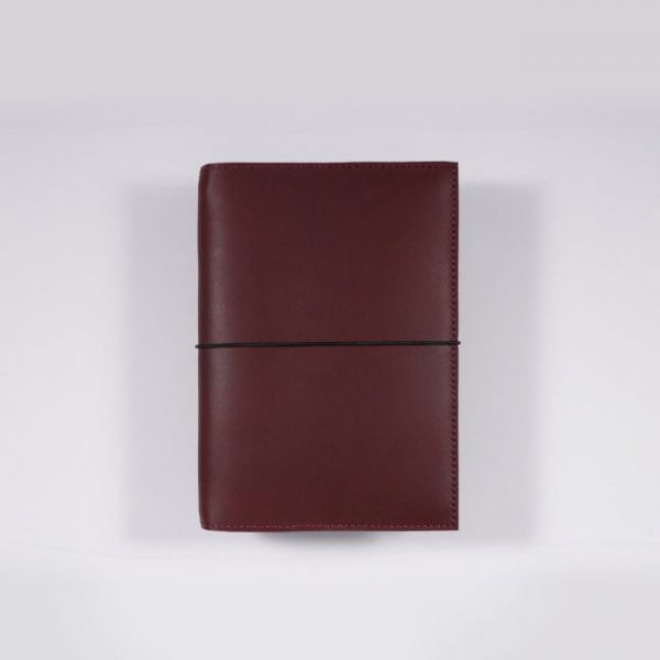 A6 leather notebook cover elastic mahogany