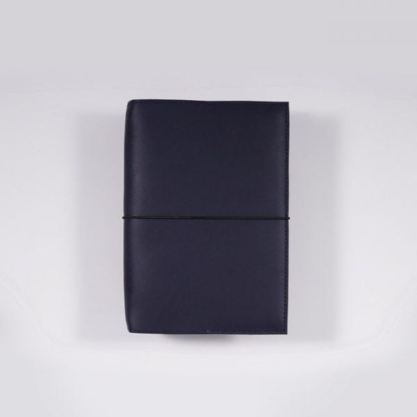 A6 leather notebook cover elastic navy