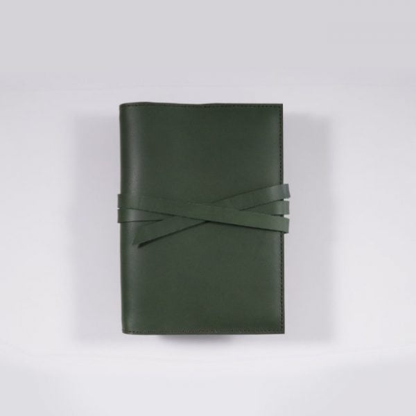 A6 leather notebook cover tie forest