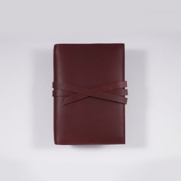 A6 leather notebook cover tie mahogany