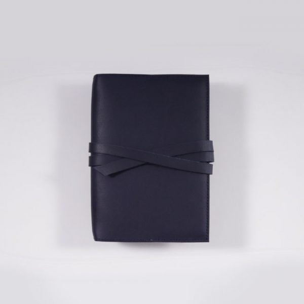 A6 leather notebook cover tie navy