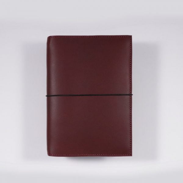 B6 leather notebook cover elastic mahogany