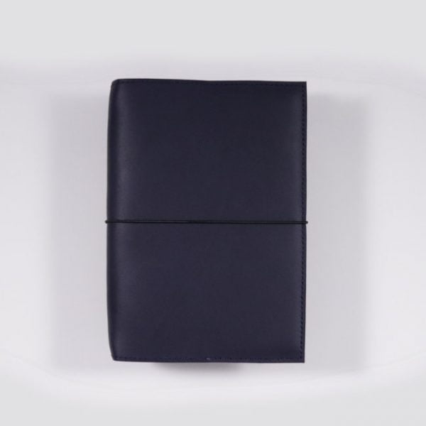 B6 leather notebook cover elastic navy