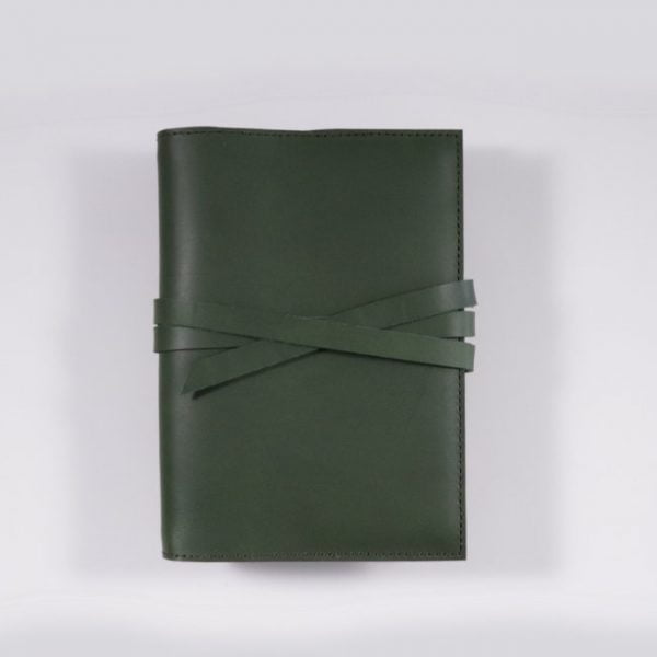 B6 leather notebook cover tie forest