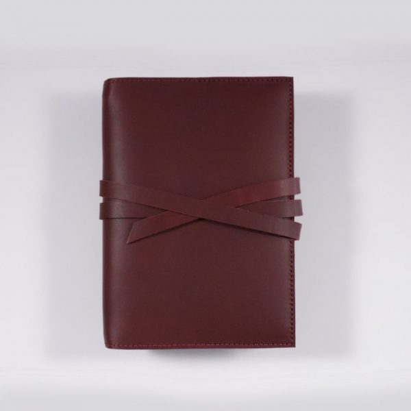 B6 leather notebook cover tie mahogany
