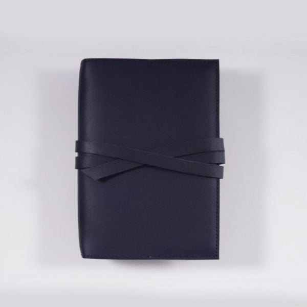 B6 leather notebook cover tie navy