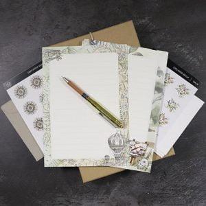 Vintage Themed Stationery, Envelope & Brass Pen Set