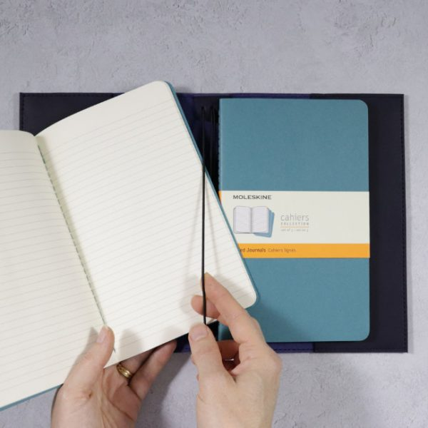 leather cover moleskine cahiers navy