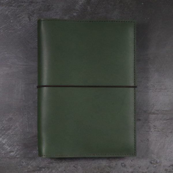 leather notebook cover elastic forest