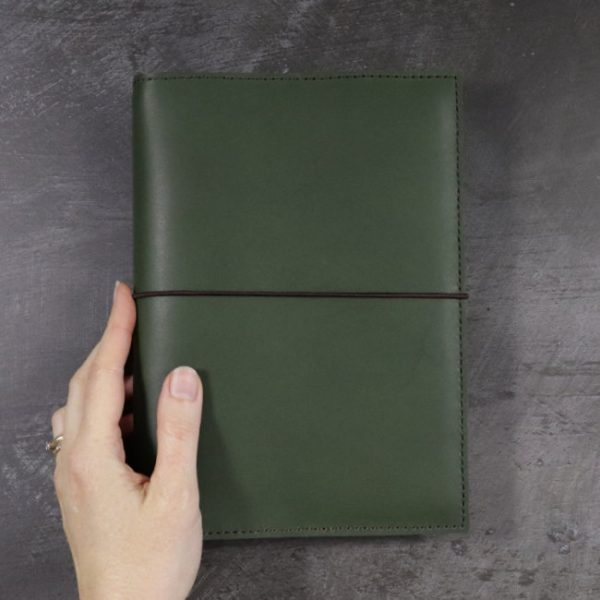 leather notebook cover elastic forest hand