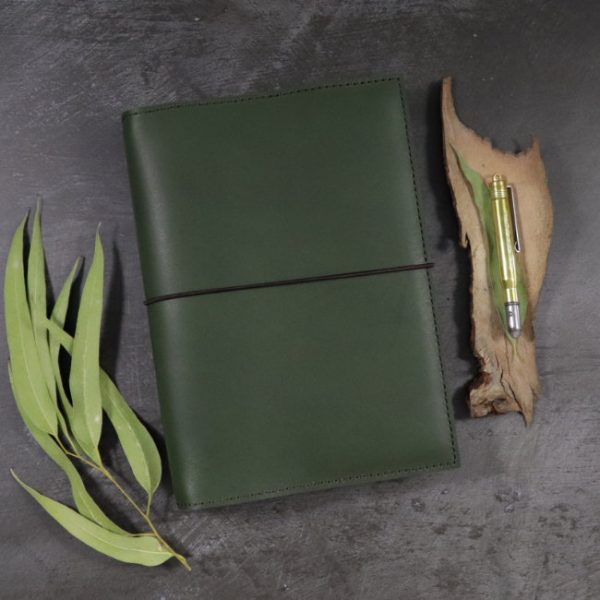 leather notebook cover elastic forest insitu