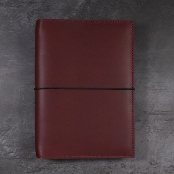 leather notebook cover elastic mahogany