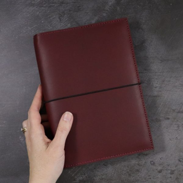 leather notebook cover elastic mahogany held