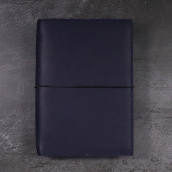 leather notebook cover elastic navy