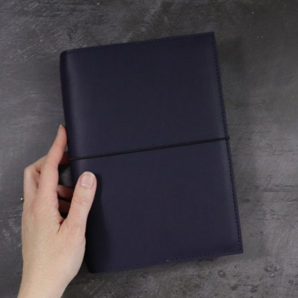 leather notebook cover elastic navy hand