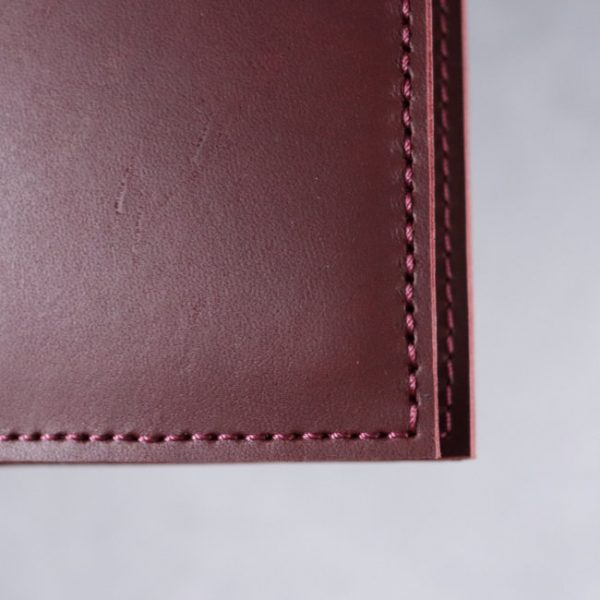 leather notebook cover mahogany closeup