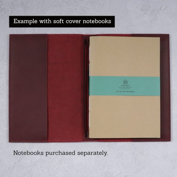 leather notebook cover mahogany open softcover example