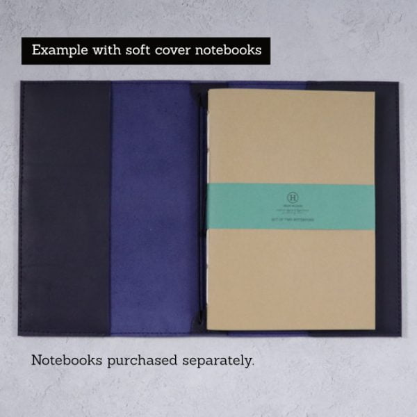 leather notebook cover navy open softcover example