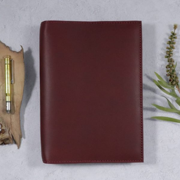leather notebook cover none mahogany