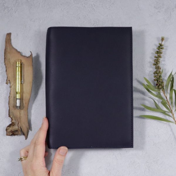 leather notebook cover none navy hand