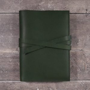 Moleskine Leather Cover – Tie Closure in Forest Green