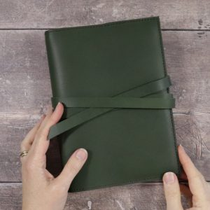 Leather Cover in Forest Green & Watercolour Set