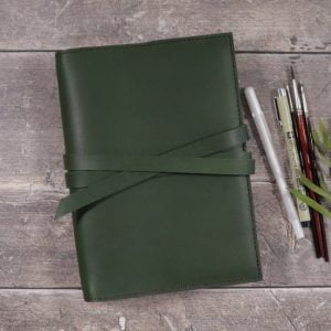A5 Classic – Tie Closure in Forest Green Leather