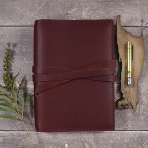 Moleskine Leather Cover – Tie Closure in Mahogany