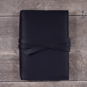 Moleskine 'Wide Spine' Leather Cover – Tie Closure in Navy