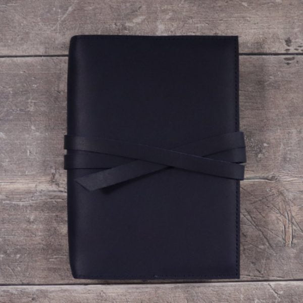 leather notebook cover tie navy