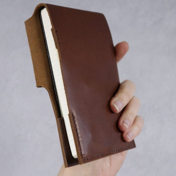 leather reporter flip notebook cover cognac back