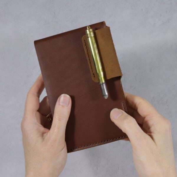 leather reporter flip notebook cover cognac hand held
