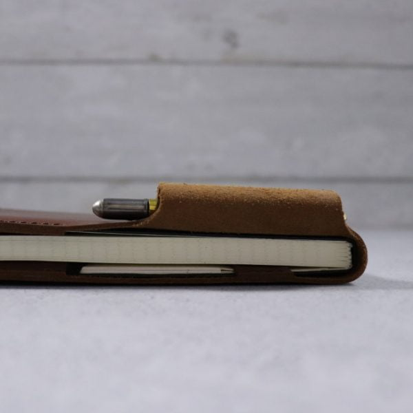 leather reporter flip notebook cover cognac side view