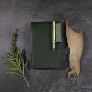 Small Leather Notepad in Forest Green with Pen