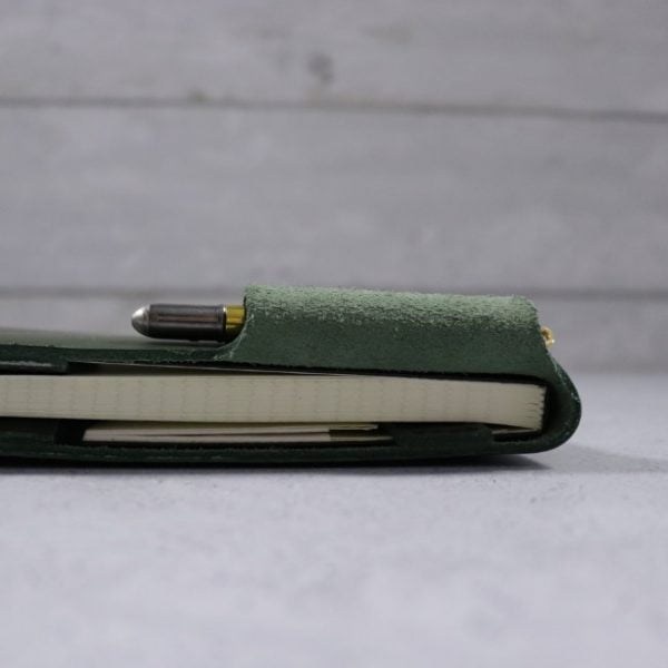 leather reporter flip notebook cover forest side view