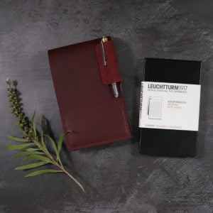 Small Leather Notepad in Mahogany with Pen