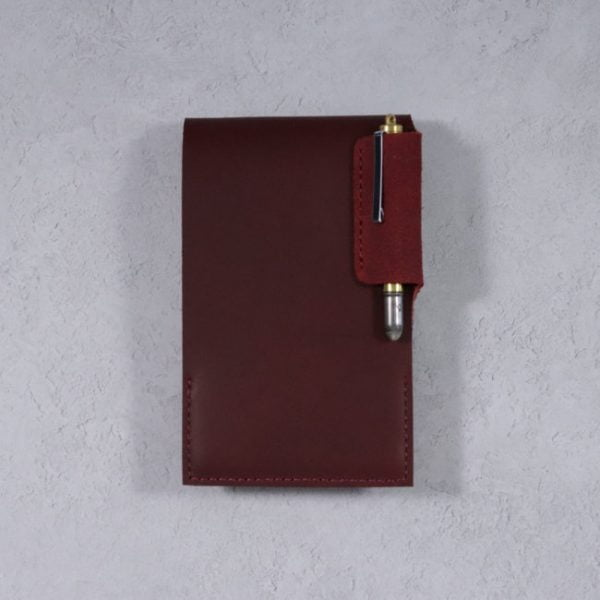 leather reporter flip notebook cover mahogany on light
