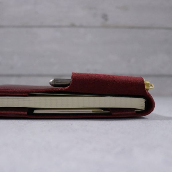 leather reporter flip notebook cover mahogany side view