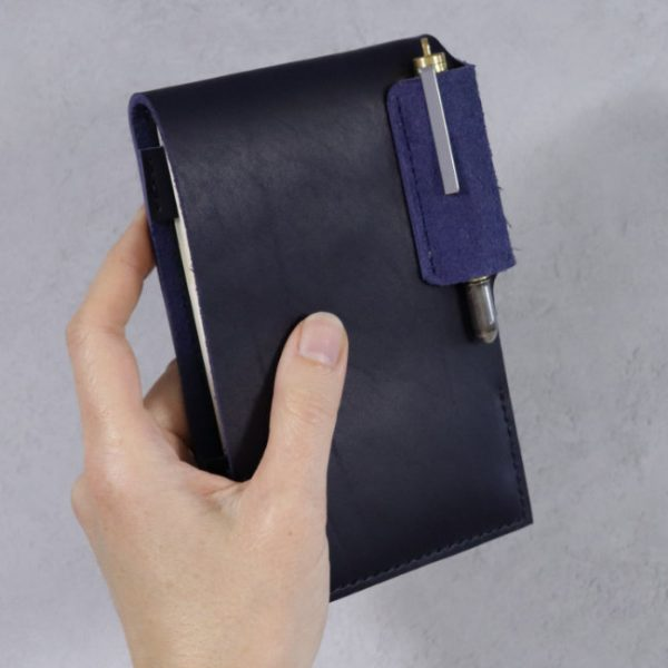 leather reporter flip notebook cover navy front