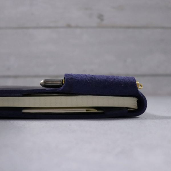 leather reporter flip notebook cover navy side view