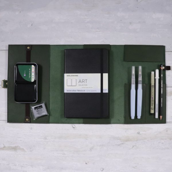 leather travel cover and art set Forest Moleskine inclusions
