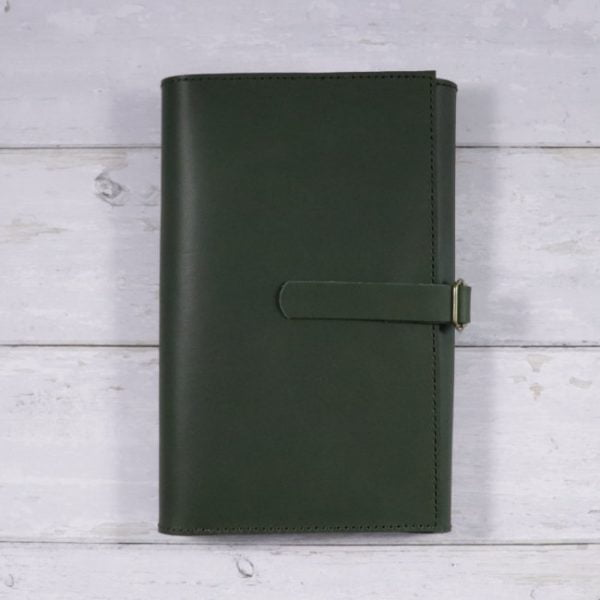 leather travel cover forest green closed
