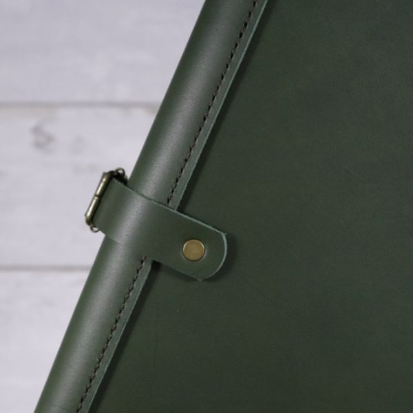 leather travel cover forest green detail