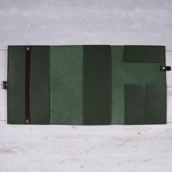 leather travel cover forest open