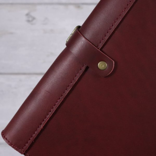 leather travel cover red detail