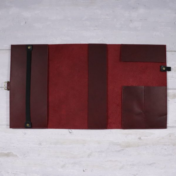 leather travel cover red open
