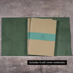 A5 Wrap Leather Journal – Tie Closure in Forest Green
