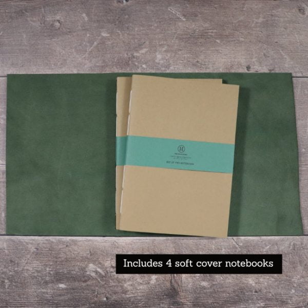 leather wrap notebook cover forest open with softcover notebooks
