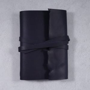 A5 Wrap Leather Journal – Tie Closure in Navy Blue
