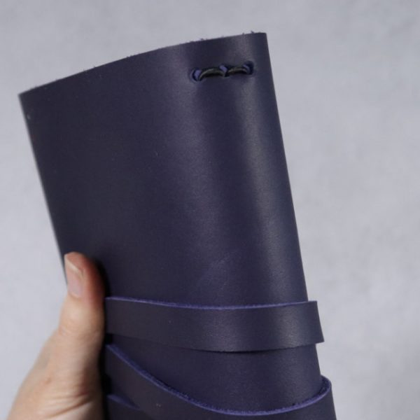 leather wrap notebook cover navy spine detail